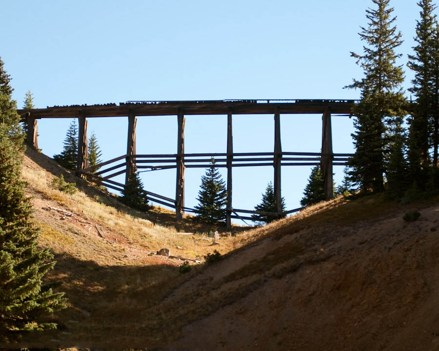 The Riflesight Notch railroad trestle on Corona Pass near Winter Park, Colorado.