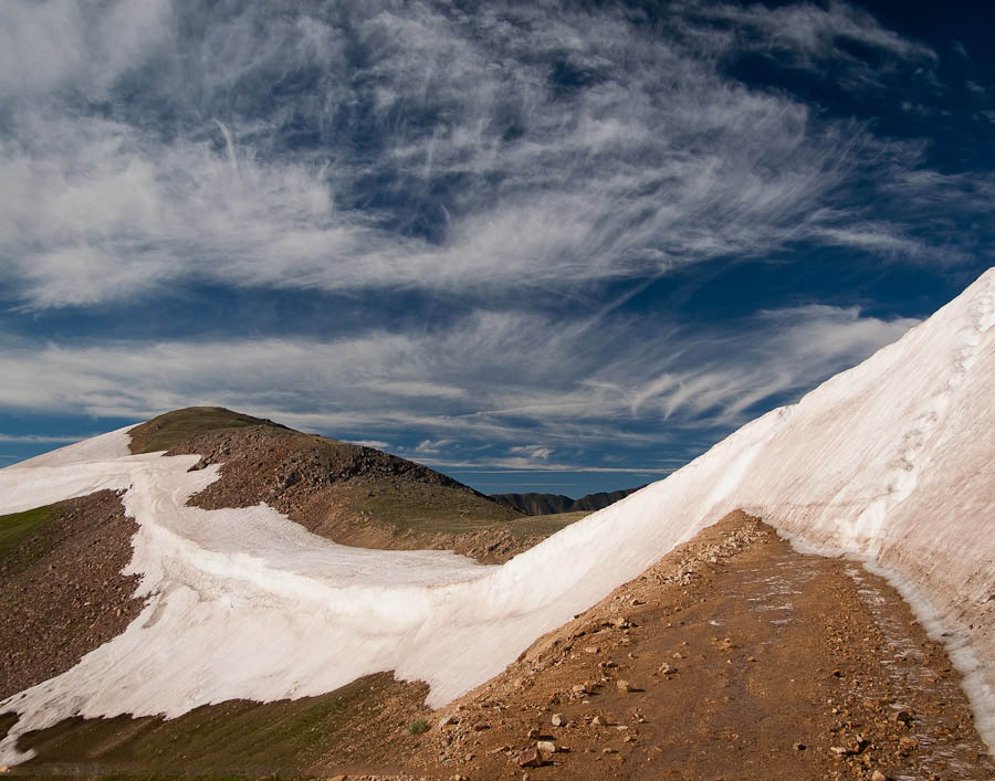 A snowfield closes the road on Jones Pass, near Empire, Colorado.