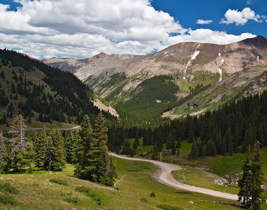 Looking east down the Hensen Creek valley from the Engineer Pass Rd on the Alpine Loop Scenic Byway, Colorado.