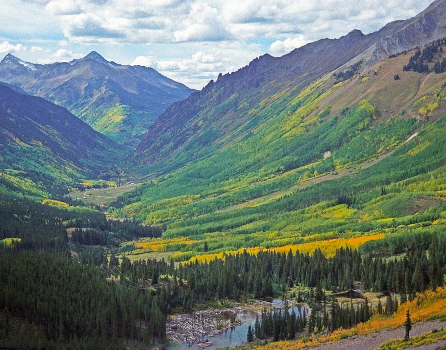 Fall colors and Sunshine Mtn from Ophir Pass.