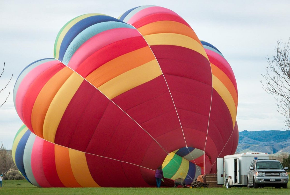 Hot air balloon being launched from Chatfield State Park near Denver, Colorado.
